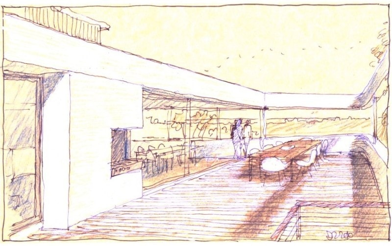 Luigi Rosselli, Hand Sketch, Cliff Top House
