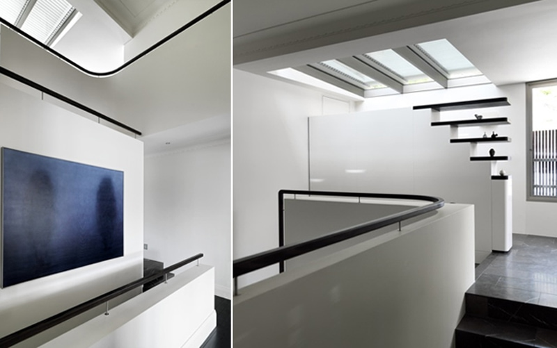 Curved Stair Balustrade, Skylight