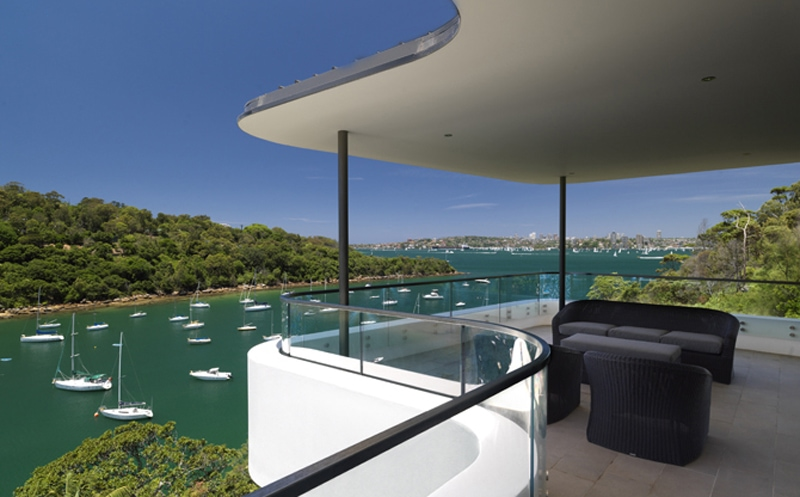 Curves, Thin Roof, Deck, Balcony, Waterfront View, Frameless Glass Balustrade