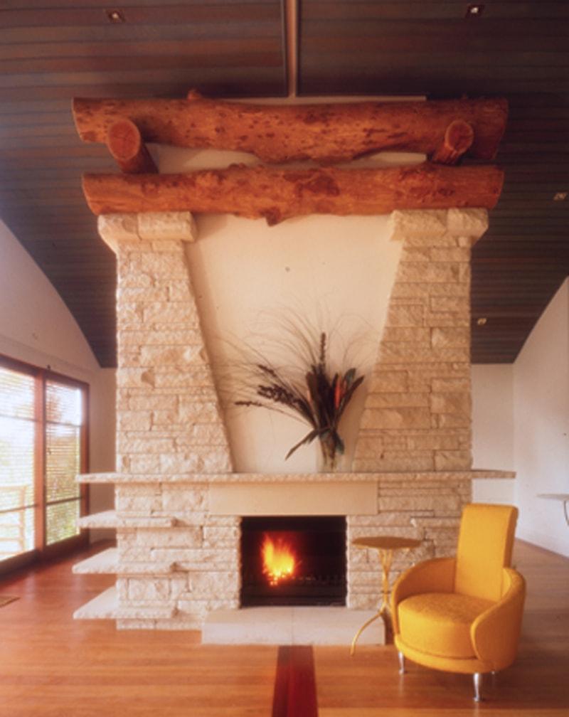 Luigi Rosselli, Fireplace, Stone Clad, Sandstone Fireplace