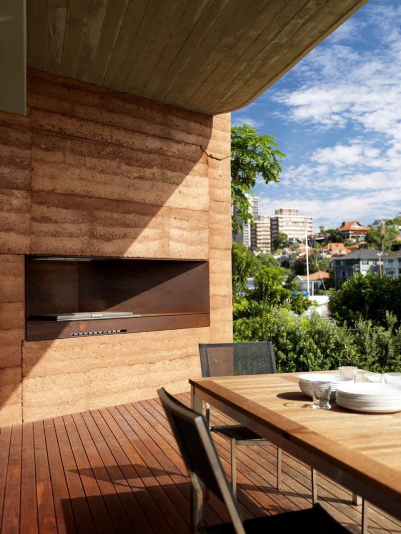 Luigi Rosselli, Rammed Earth, Rammed Earth Wall, Built in External Fireplace
