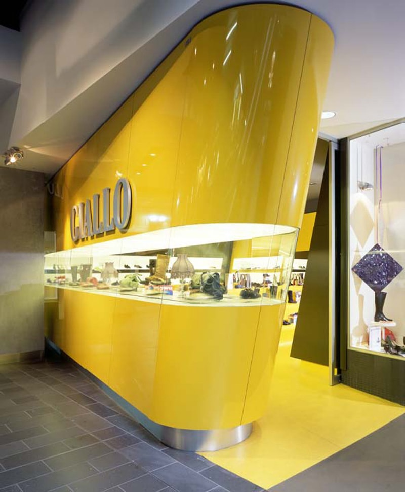 Luigi Rosselli, Shoe Store, Commercial, Shop, Conveyor Belt Display, Yellow Joinery