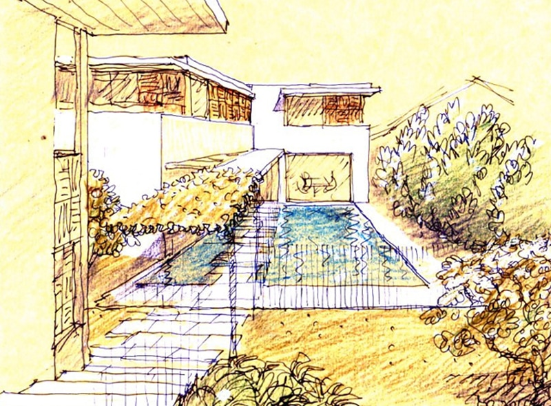 Luigi Rosselli, Perspective Sketch, Yellow Trace Sketch, House, Swimming Pool