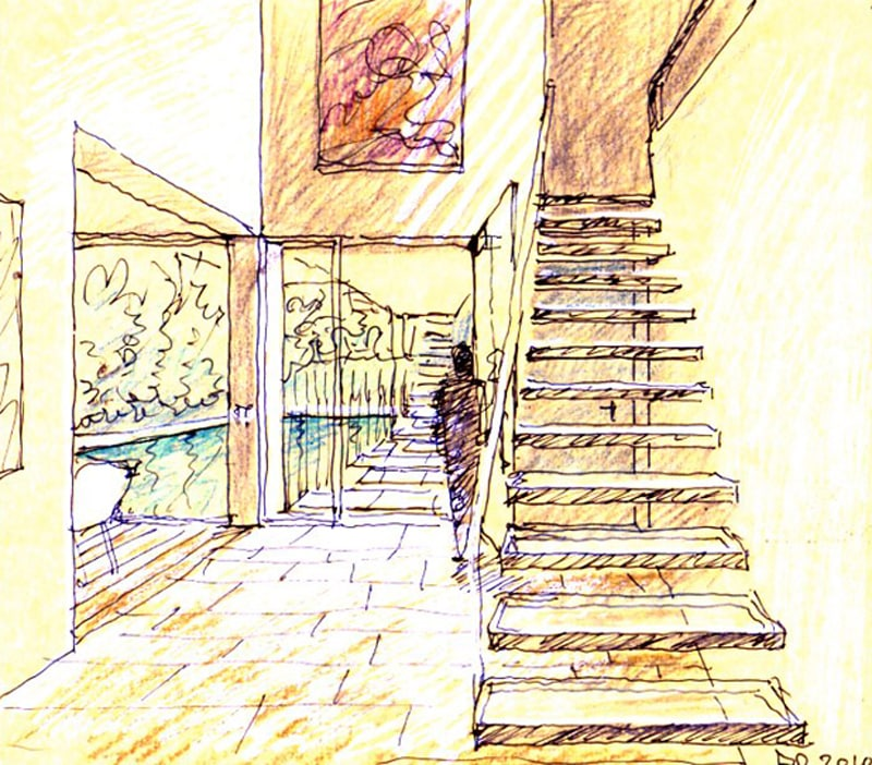 Luigi Rosselli, Perspective Sketch, Yellow Trace Sketch, House, Floating Stair