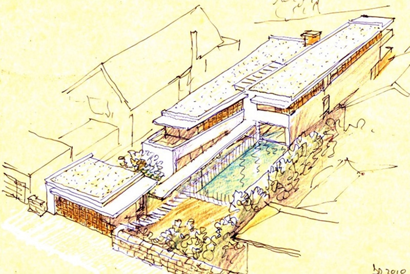 Luigi Rosselli, Perspective Sketch, Yellow Trace Sketch, House, Axonometric