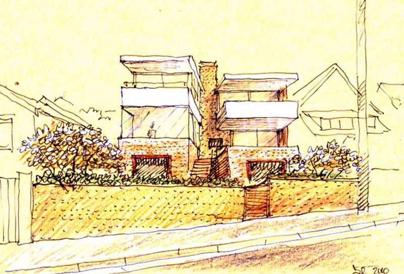 Luigi Rosselli, Perspective Sketch, Yellow Trace Sketch, House