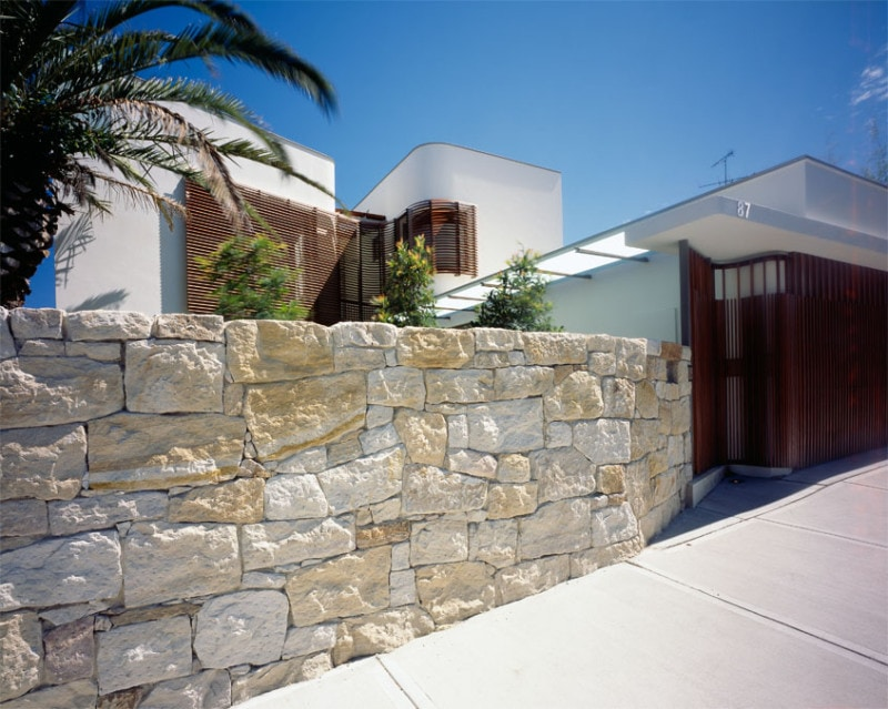 Luigi Rosselli, Timber Shutters, Timber Battens, Stone, Sandstone Wall, Sandstone Fence, Curved Architecture
