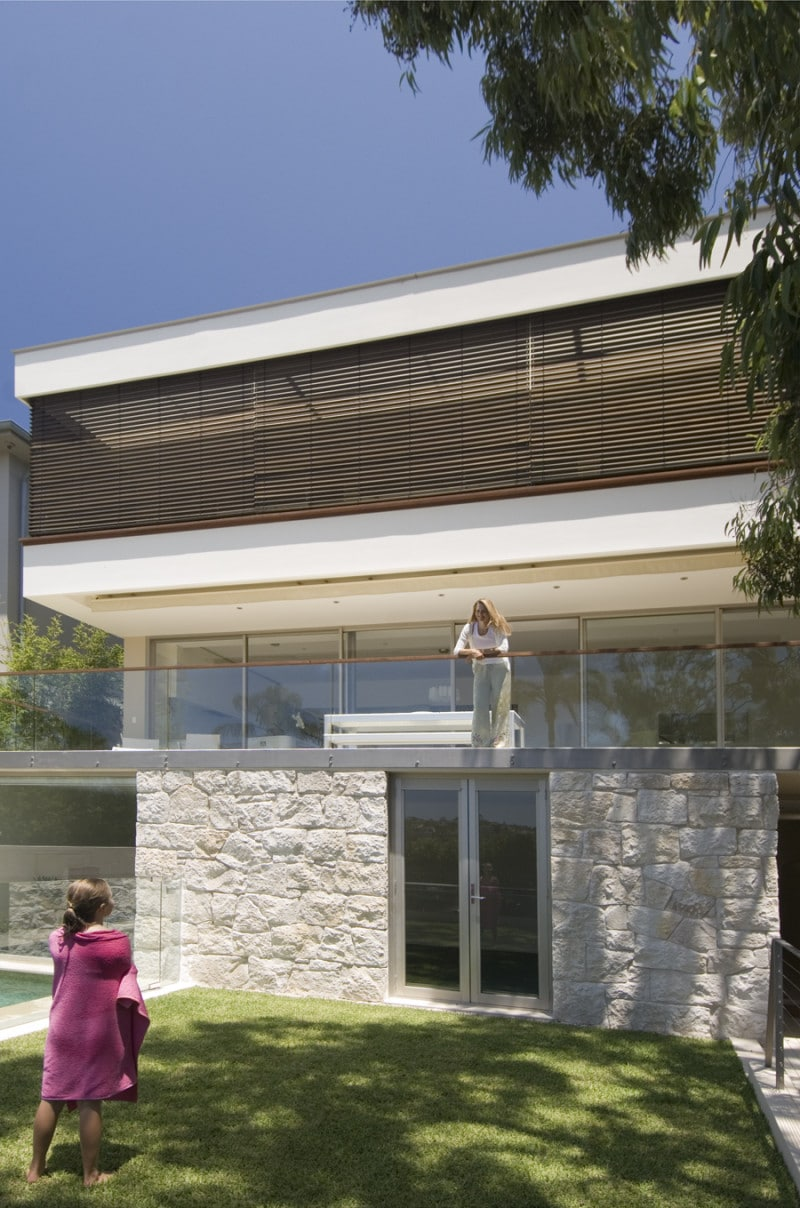 Luigi Rosselli, Timber Shutters, Timber Screens, Sandstone, Stone Wall, Glass and Timber Balustrade, Frameless Glass Fence