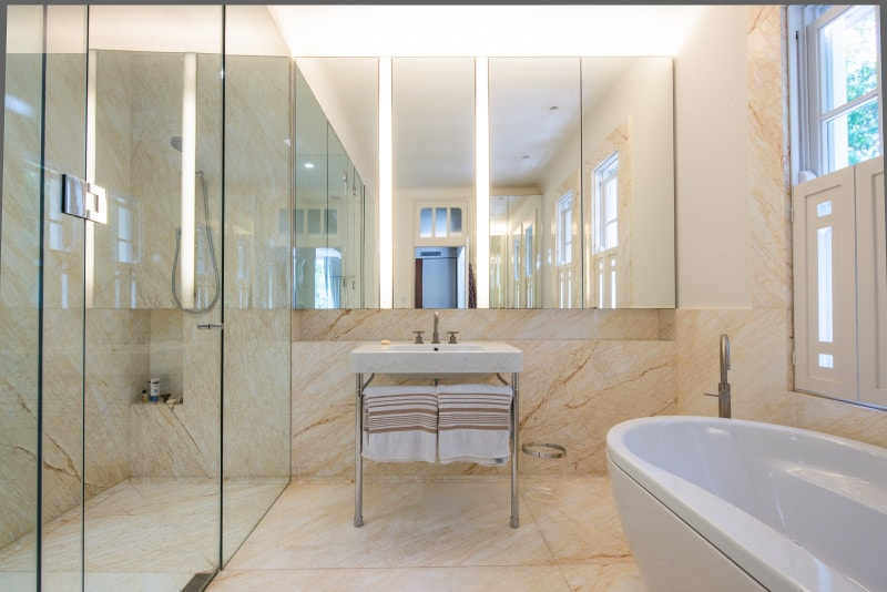 Luigi Rosselli, Marble Walls, Bathroom, Mirrors, Steel Framed Vanity, Free Standing Bath Tub