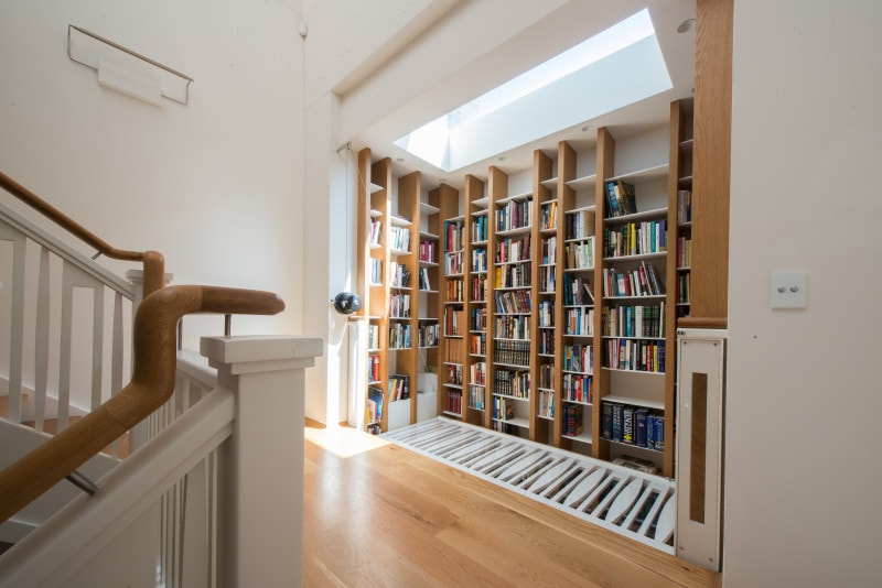 Luigi Rosselli, Library, Custom Design Library, Fold Down Balutrade Floor, Study