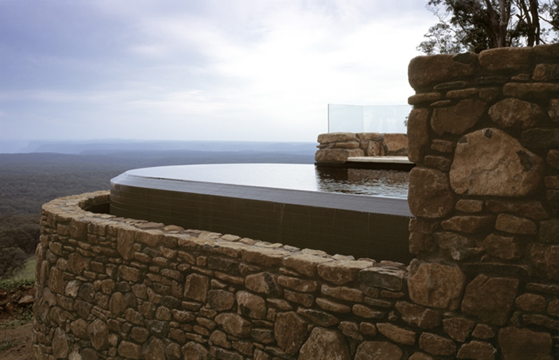 Luigi Rosselli, Pool, Swimming Pool overlooking View, Stone Wall, Natural Stone
