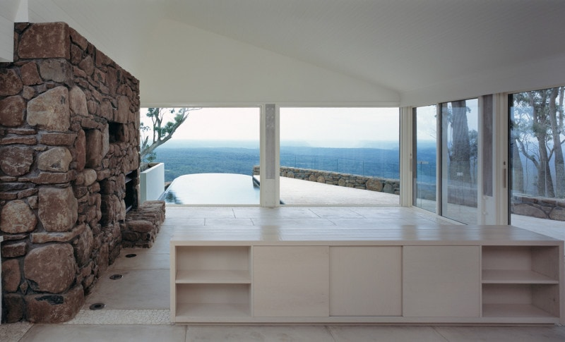 Luigi Rosselli, Internal Natural Stone Wall, White Joinery, View Overlooking Valley