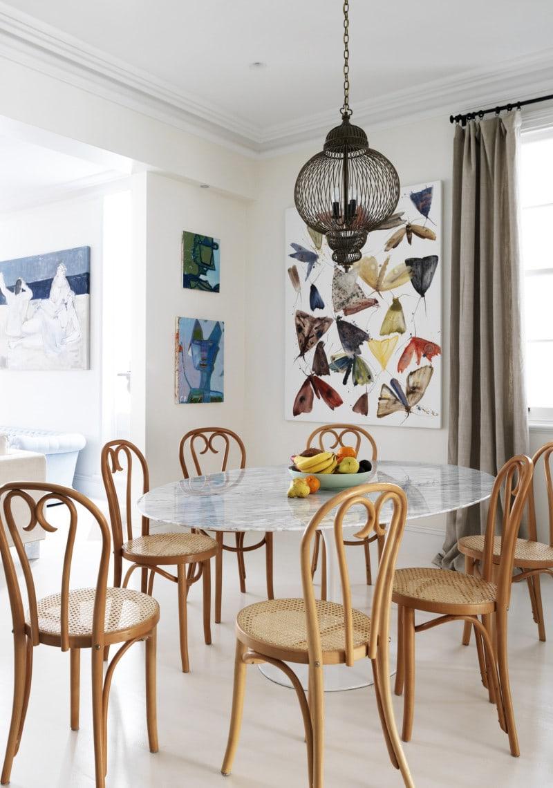 Bent wood chairs and Eero Saarinen tulip table