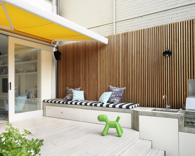 Luigi Rosselli, Retractable Awning, Built in BBQ, External Joinery, Decorative Timber Batten Fence, Sunshine Yellow Awning