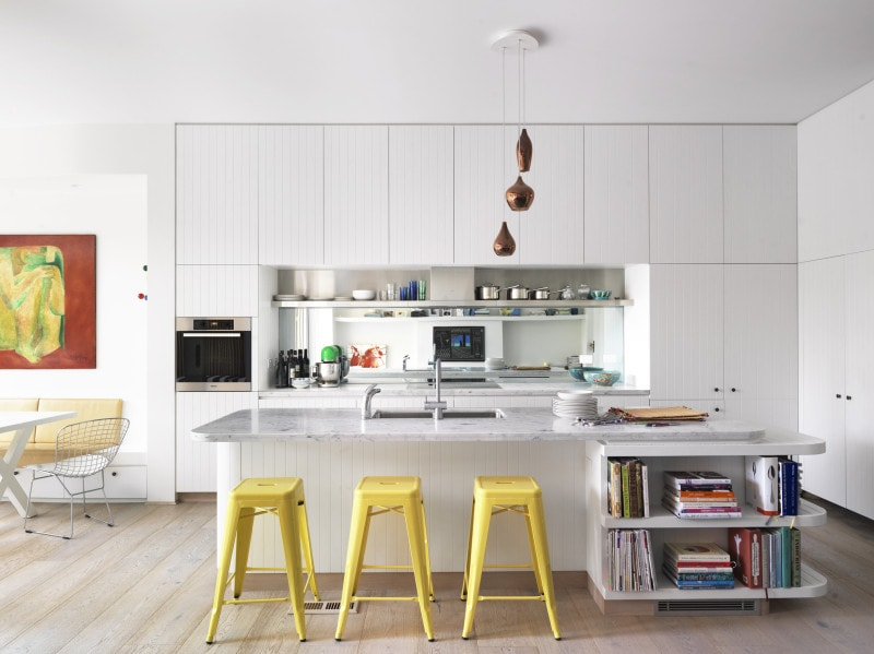 Luigi Rosselli, Light Timber Floor Boards Kitchen, Integrated Shelving Island Bench, Grooved White Timber Lining Board Kitchen, Carrara marble top kitchen island