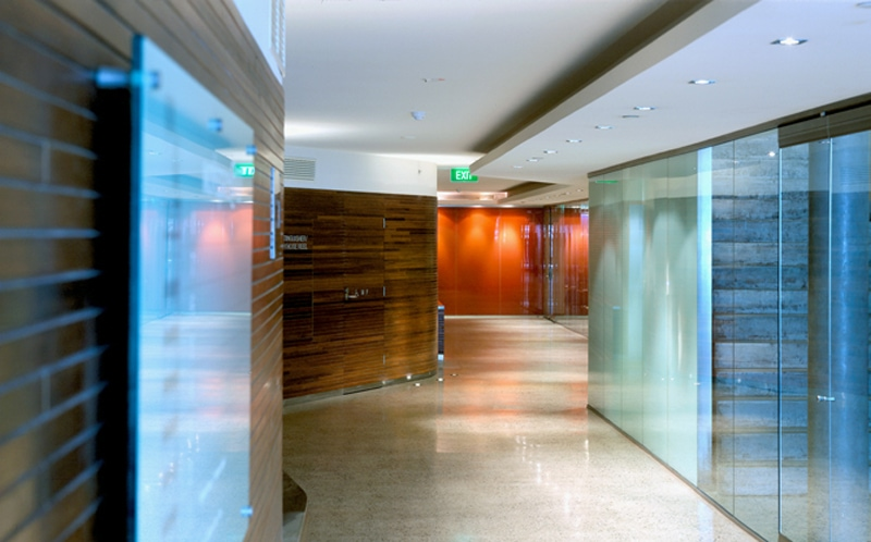 Luigi Rosselli, Office Building, Entry Foyer Space, Timber Walls