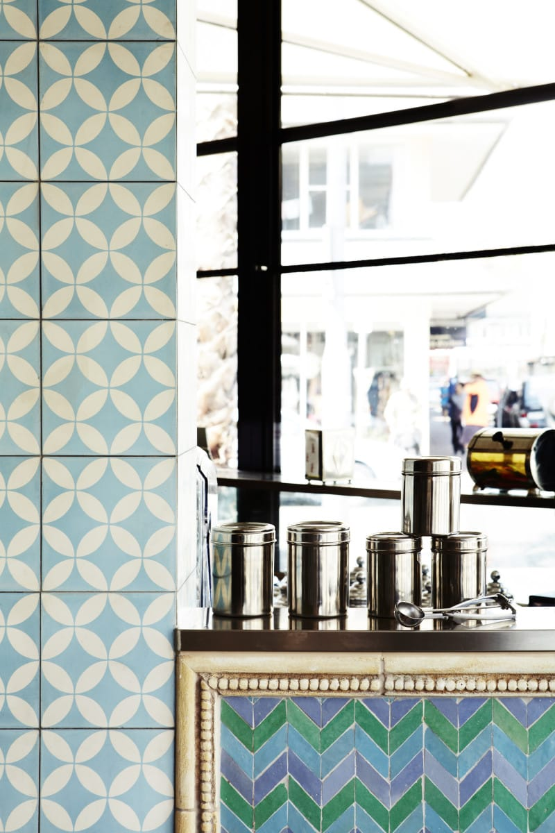 Luigi Rosselli, Cafe, Commercial Interior Architecture, Kitchen, Restaurant, Tiled Splashback, Blue Cafe
