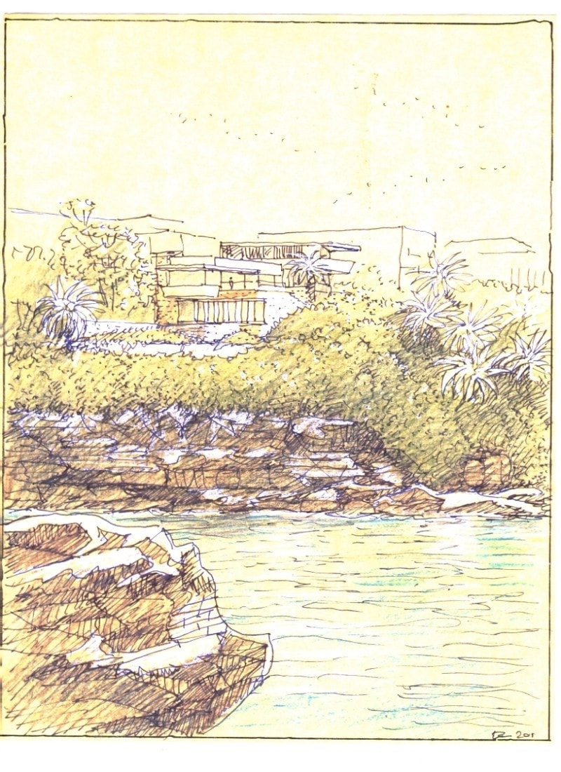 Luigi Rosselli, Perspective, Drawing, Sketch, Yellow Trace Sketch, House on the Water