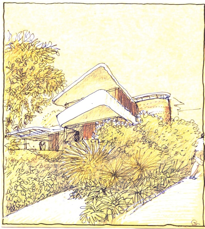 Luigi Rosselli, Perspective, Drawing, Sketch, Yellow Trace Sketch, House on the Water, Curved Architecture