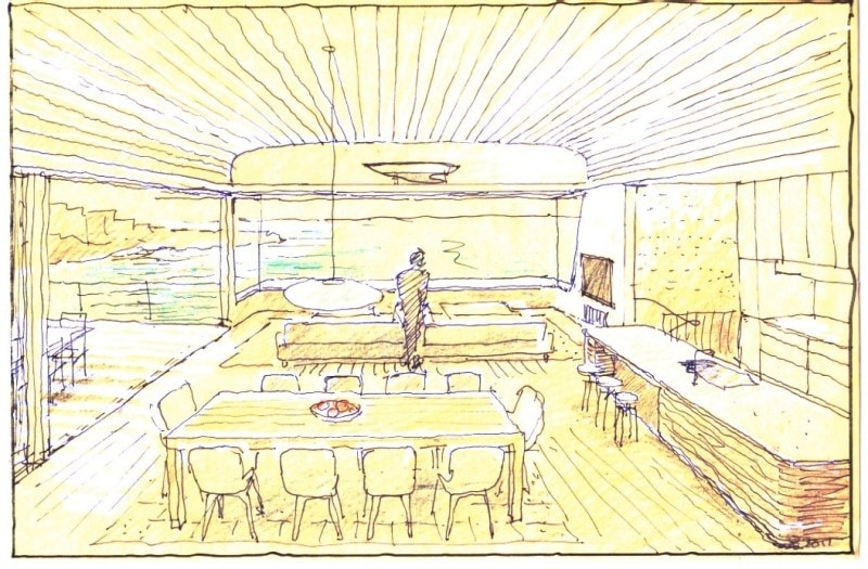 Luigi Rosselli, Perspective, Drawing, Sketch, Yellow Trace Sketch, Living Room, Dining Room, Kitchen