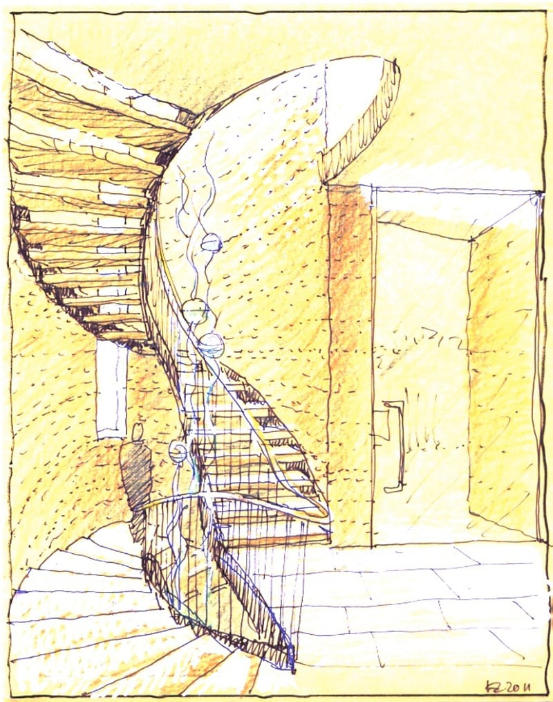 Luigi Rosselli, Perspective, Drawing, Sketch, Yellow Trace Sketch, Curved Stair