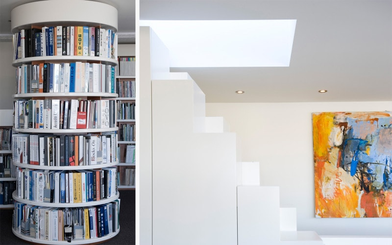 Luigi Rosselli, Library, Library Joinery Circular, Stair Joinery, Storage under stair, Skylight