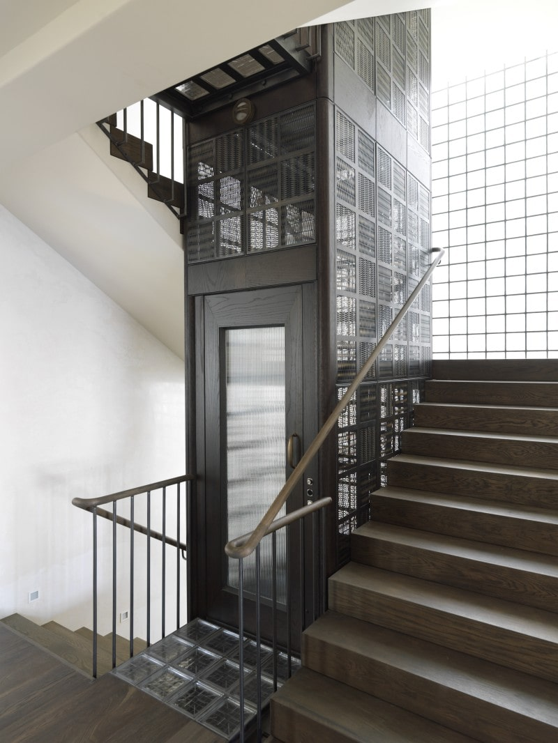Luigi Rosselli, Timber Stairs, Timber and Steel Stair Hand rail, Industrial Residential Lift, Woven Brass and steel lacework lift cage glass block floor