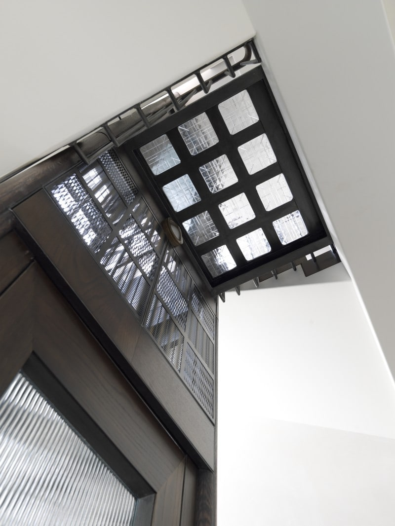 Glass Block Flooring, Lift, Industrial and Residential Lift, Woven brass and steel lacework lift cage glass block floor