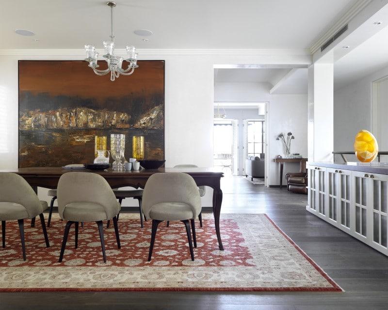 Luigi Rosselli, Traditional dining room dark stained timber floors