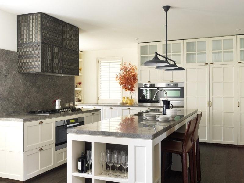 Luigi Rosselli, Kitchen Design, Decorative glass filigree exhaust hood marble bench kitchen island