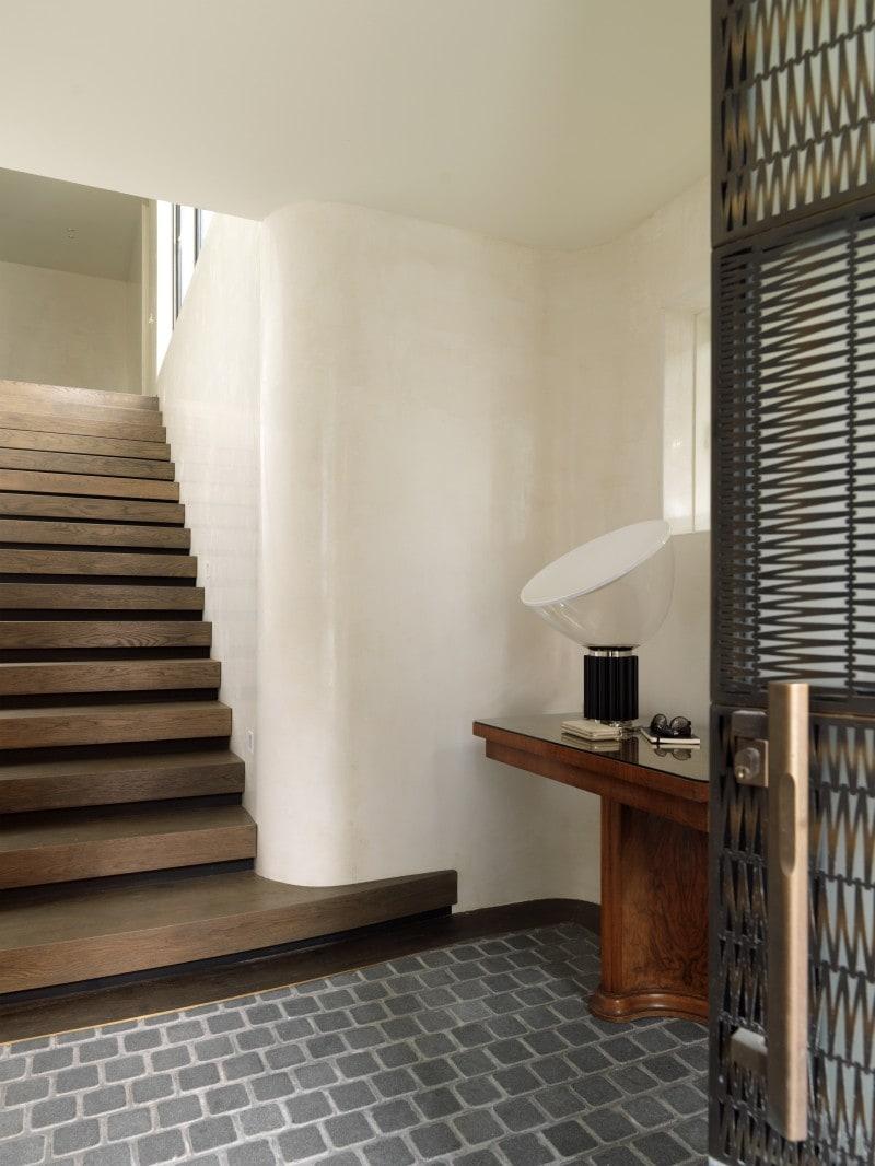 decorative brass filigree door timber stairs