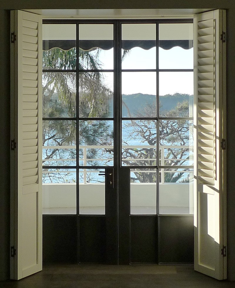 thin black steel framed French doors