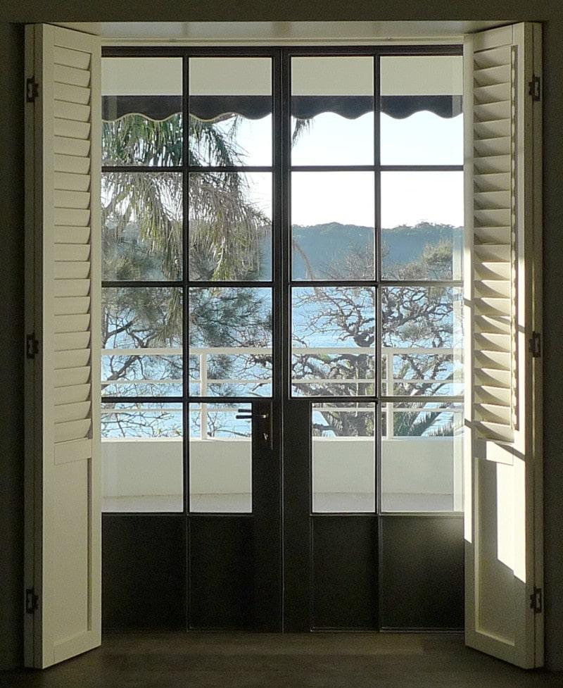 thin black steel framed French doors