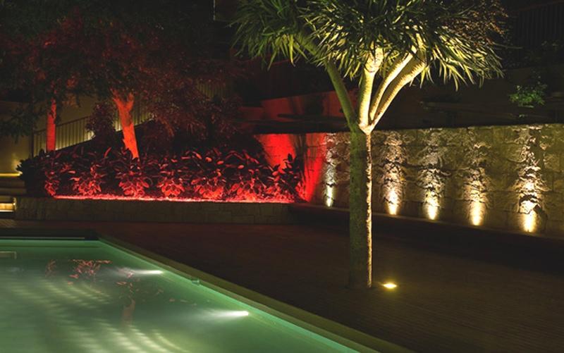 Luigi Rosselli, Backyard Lighting, Swimming Pool, Pool, Pool lighting, Timber Deck, Sandstone Wall, Backyard Night lighting