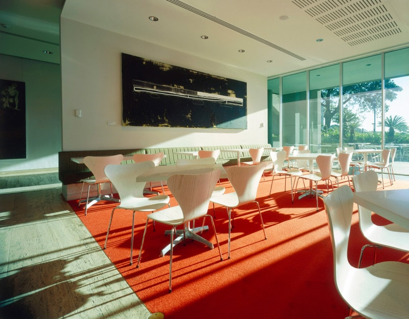 Luigi Rosselli, Art Gallery Restaurant, Restaurant Design, Kitchen, Dining Area, Red Carpet