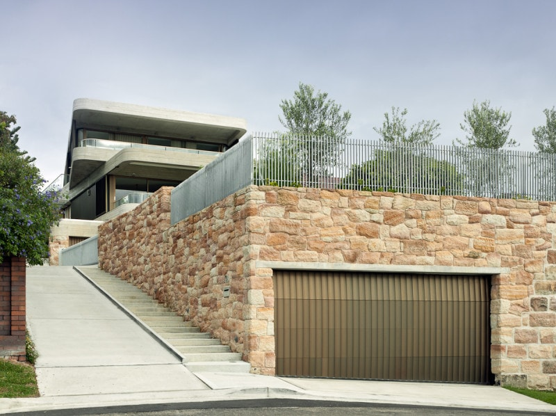 Sandstone Garage, Timber Garage Door, WRC, Luigi Rosselli
