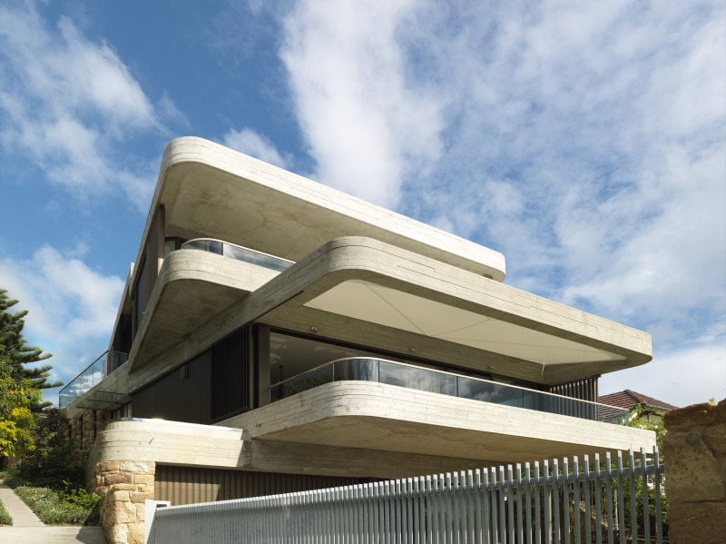 Luigi Rosselli, Gordons Bay House, Cantilever, Offset Concrete Balconies, Off Form Exposed Concrete, Sandstone Base