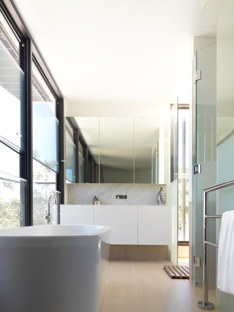 frameless glass window modern ensuite