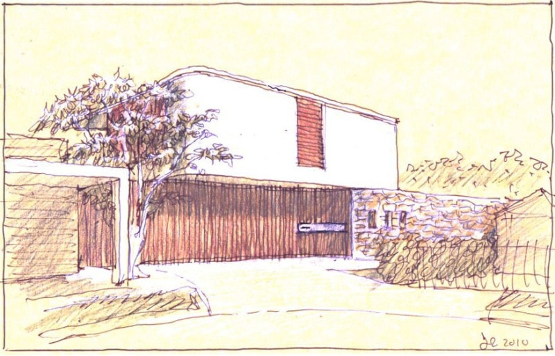 Luigi Rosselli hand sketch cliff top house