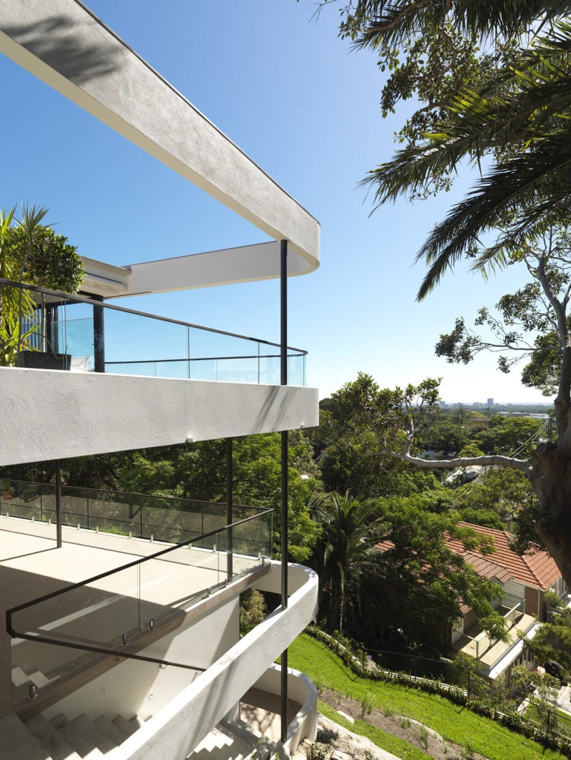 curved light structure balcony cliff top house