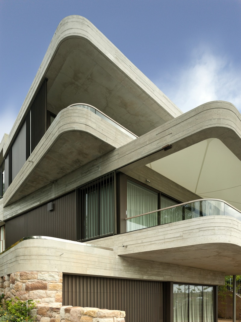 Luigi Rosselli, Concrete Cantilevers, Curved Offset Balconies, Exposed Off Form Concrete