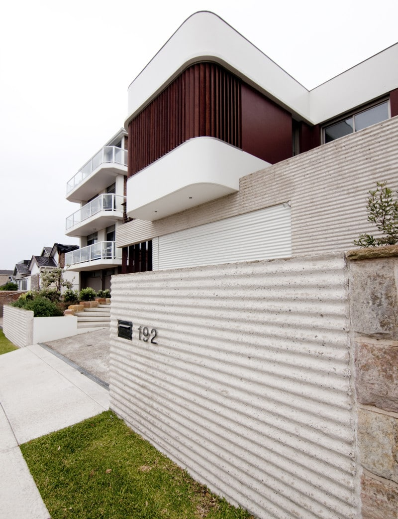 Luigi Rosselli, Textured Formwork, Concrete, Timber Shutters, Corrugated iron concrete formwork
