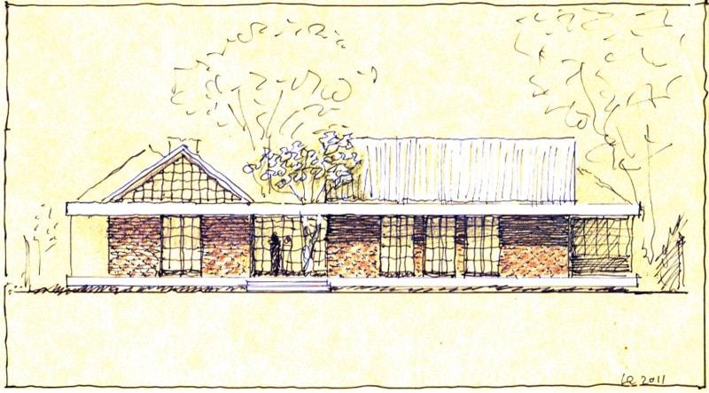 Luigi Rosselli, Sketch, Perspective, Subiaco Oval Courtyard