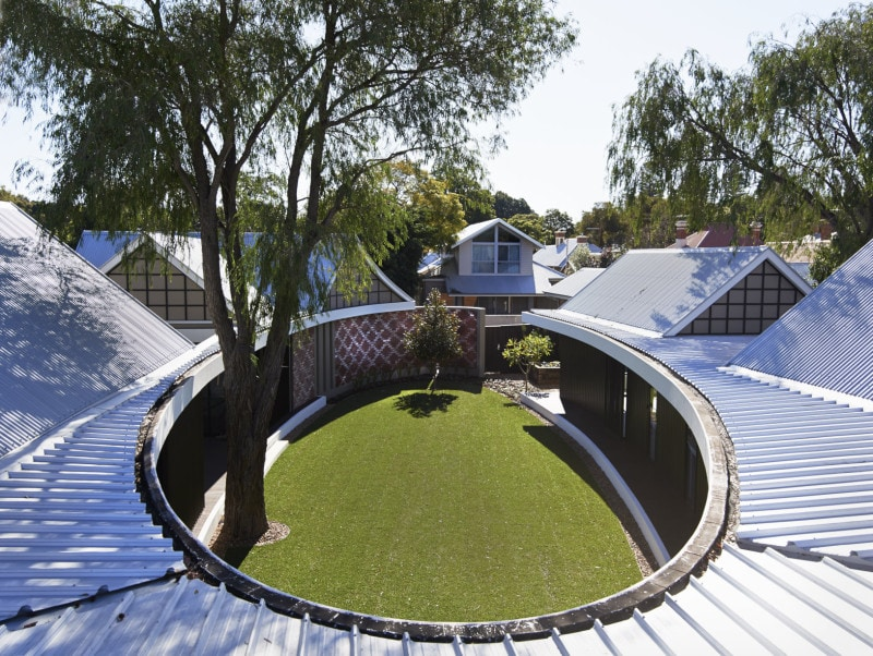 subiaco elliptical shaped veranda oval courtyard Zincalume roof