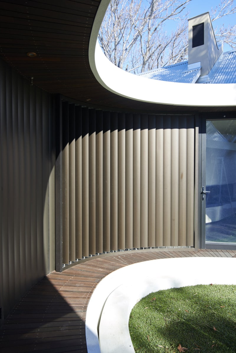 aluminium wall cladding jarrah timber deck verticle aluminium louvers