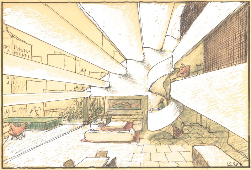 Luigi Rosselli, Pitt Street, Sydney High Rise, Architecture Competition, Sketch, Perspective