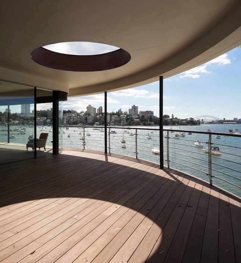 large balcony with circular skylight