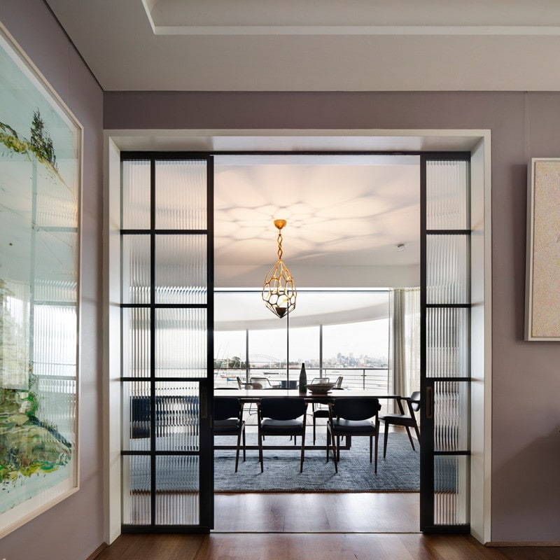 Fluted glass steel framed door, Luigi Rosselli, DIning Room, Timber Floorboarsds