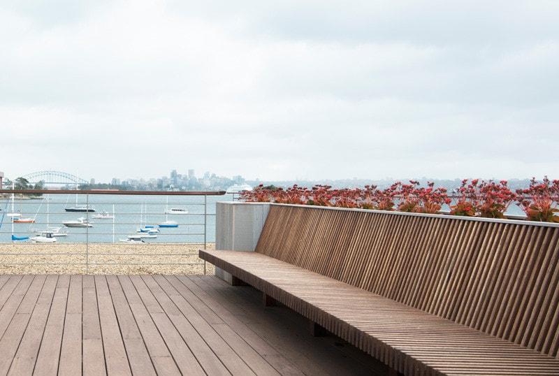modern hardwood decking seat
