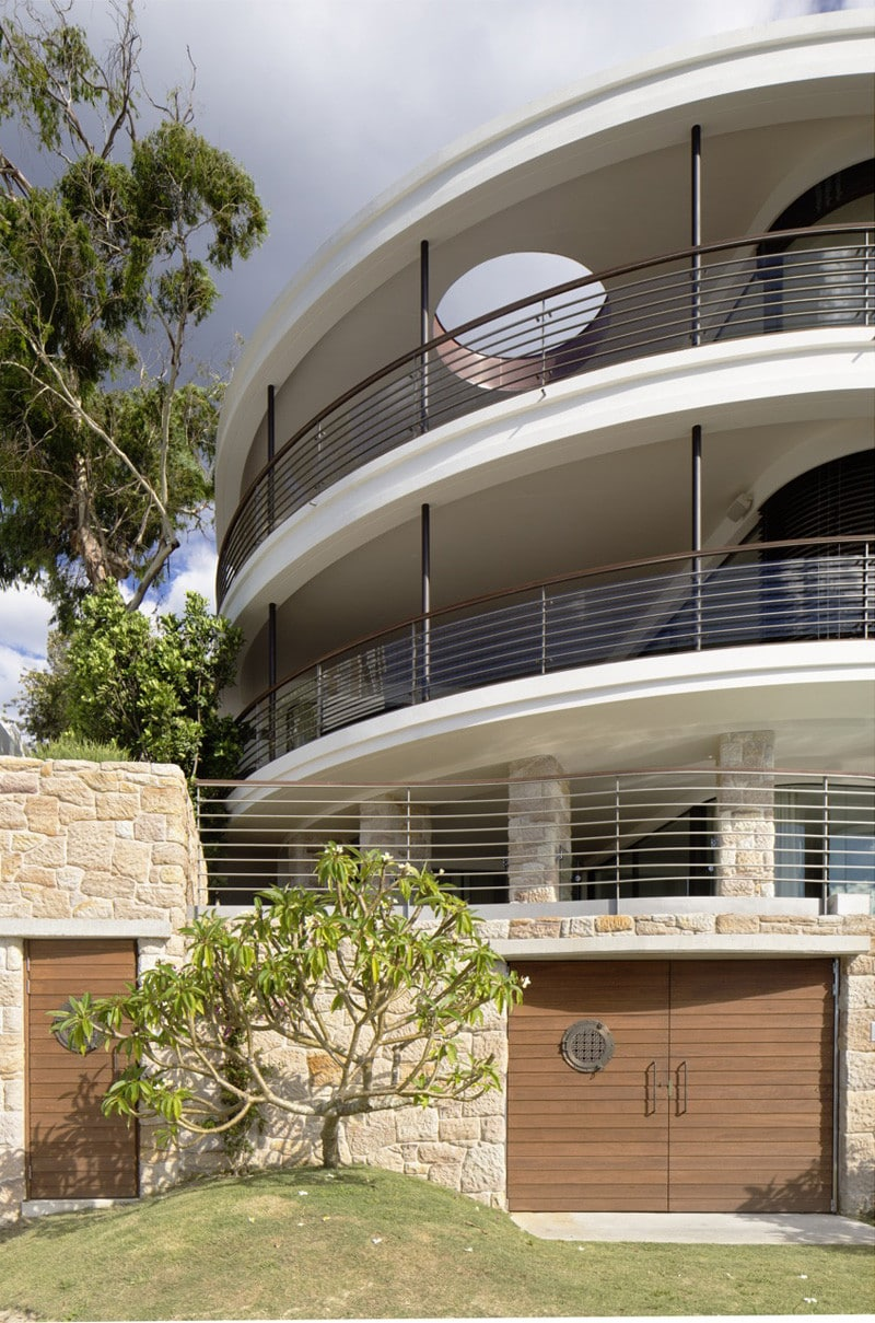 large layered balconies with circular skylight